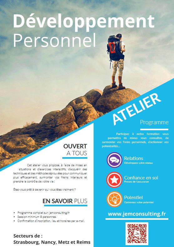 Affiche sessions de développement personnel en Alsace
