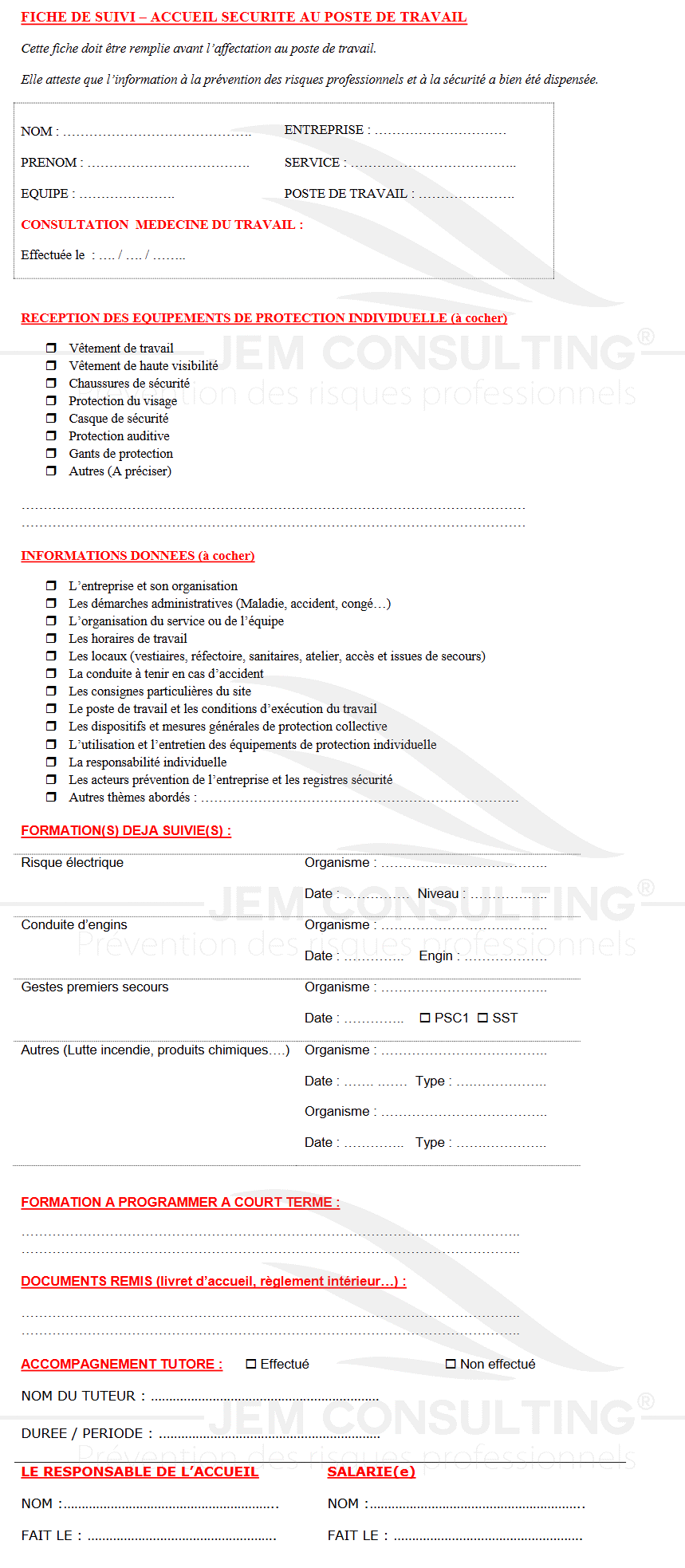 Document accueil sécurité