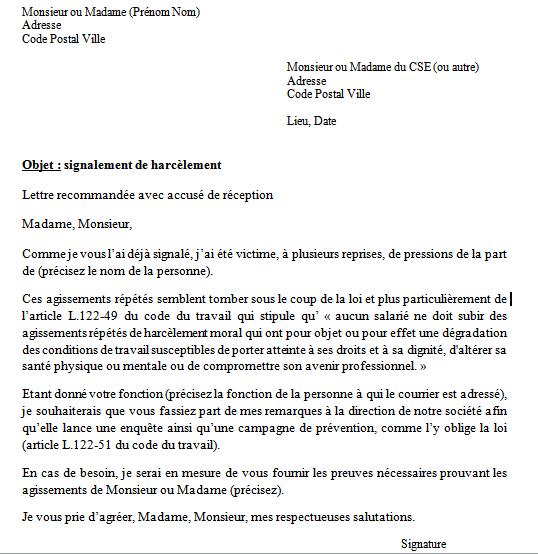 Modèle de lettre de signalement de harcèlement au travail